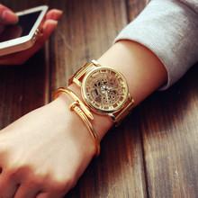 韩国正品钢带金色土豪金gv8双面镂空co手表学生石英男表女表