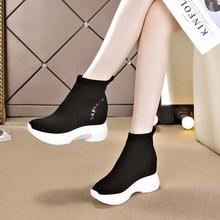 袜子鞋gv2020年co季百搭内增高女鞋运动休闲冬加绒短靴高帮鞋