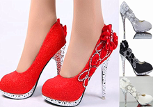 婚鞋红gw高跟鞋细跟wo年礼单鞋中跟鞋水钻白色圆头婚纱照女鞋