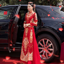 秀禾服gy021新式np瘦女新娘婚纱凤冠霞帔龙凤褂秀和服
