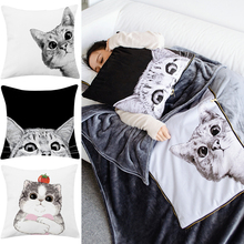 卡通猫gz抱枕被子两z0室午睡汽车车载抱枕毯珊瑚绒加厚冬季