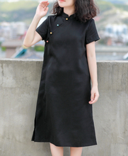 两件半gz~夏季多色1e袖裙 亚麻简约立领纯色简洁国风