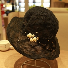 夏季夏gz韩款珍珠帽sn夫帽女复古盆帽女欧美英伦女帽夏遮阳帽