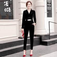 欧洲站gz2020春wg时尚(小)脚裤修身洋气大码两件套潮