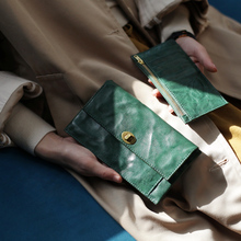葱木复gz绿色招财真gz搭扣钱包名媛手包卡包简约女士超薄钱夹