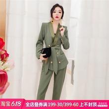 韩衣女王西gz2套装女韩kp1新款春装时尚职业套装洋气两件套气质