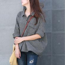 谷家 新款文艺复古棉麻格子衬衫gz12 休闲kp宽松长袖衬衣