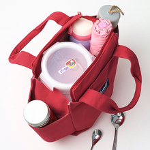 帆布手h2妈咪包带饭xi子饭盒包防水午餐便当包装饭盒的手提包