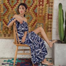 度假女h6名媛波西米6w风印花沙滩裙一字肩连衣裙开叉性感长裙