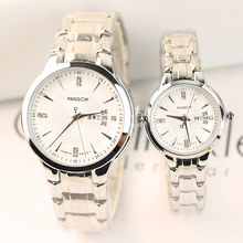 新式时h6商务双日历6w侣手表一对男女士休闲镶钻学生石英表潮