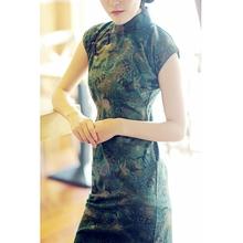 唐之语春ha1中长款复ke常印花亚麻旗袍裙女改良民中国风绿色
