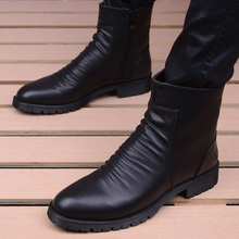 英伦时ha高帮拉链尖ke靴子潮流男鞋增高短靴休闲皮鞋男士皮靴