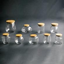 玻璃茶ha罐 密封储ke(小)号 便携竹木盖茶罐透明玻璃罐定制logo