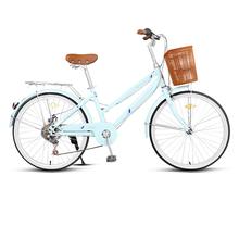 永久自ha车女式变速ke通老式复古轻便学生成年的通勤共享单车