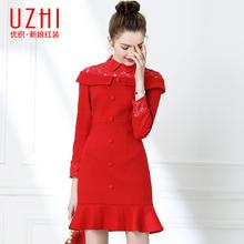 优织秋季红色鱼尾裙子修身毛呢连ha12裙娘回ke服平时可穿