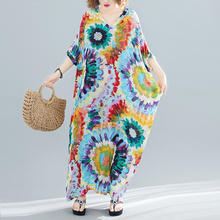 夏季宽ha加大V领短ke扎染民族风彩色复古印花波西米亚连衣裙