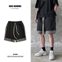 嘻哈裤ha男抖音夏季th两件原宿bf休闲工装五分裤松紧腰直筒裤