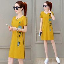 夏装女ha020新式hi短袖连衣裙宽松休闲裙子减龄韩款中长式T恤裙