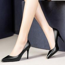 欧洲站ha鞋2021ie美风牛皮细跟浅口软皮鞋尖头真皮高跟鞋单鞋