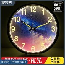 智能夜ha声控挂钟客un卧室强夜光数字时钟静音金属墙钟14英寸