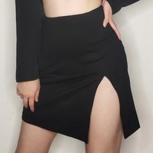 包邮 ha美复古暗黑si修身显瘦高腰侧开叉包臀裙半身裙打底裙