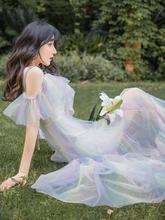 法式吊ha白色连衣裙ue美裙子仙女超仙森系网纱彩虹公主裙长式