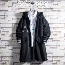 白糖玫ha/20 黑ti男青年中长式痞帅气连帽秋冬季潮流韩款