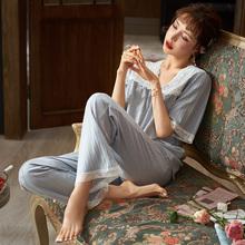 马克公ha睡衣女夏季ti袖长裤薄式妈妈蕾丝中年家居服套装V领