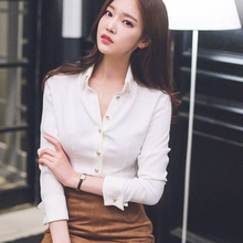 白色衬ha女设计感(小)hu风2020秋季新式长袖上衣雪纺职业衬衣女