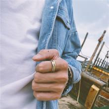18AWha1牌三色环aa男女镀金食指戒子钛钢不褪色百搭饰品指环
