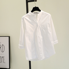 [hamia]立领白色棉麻衬衫女202
