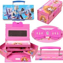 密码带锁的文具女ha5宝宝芭比ia盒(小)学生多层功能娃娃3年级1