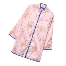 欧洲站ha021时尚3r嘻哈中式外套中长式印花粉色盘扣旗袍上衣女