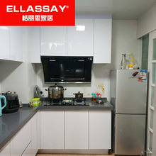 厨房橱ha晶钢板厨柜ra英石台面不锈钢灶台整体组装铝合金柜子