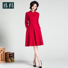 秋冬新ha修身显瘦本ra色改良旗袍过年喜庆女装毛呢连衣裙149