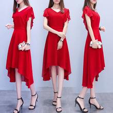 202ha夏天新式中if雪纺连衣裙女夏季气质(小)个子收腰显瘦红色裙