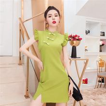 御姐女ha范2021ao油果绿连衣裙改良国风旗袍显瘦气质裙子女