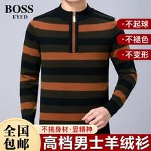 BOSSha1EYEDao纹绒衫秋冬季加厚保暖圆领上衣男装抖音同式