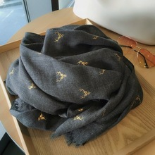 烫金麋ha棉麻围巾女hi款秋冬季两用超大保暖黑色长式丝巾