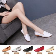 豆豆鞋ha闲鞋女式真ki鞋舒适防滑平底鞋软底白色皮鞋百搭单鞋