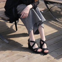 仙女坡跟凉ha2女202ov式交叉带超高跟厚底防水台松糕鞋罗马鞋