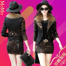皮衣(小)西装外套女短式ha7款秋冬装ov毛领加棉加厚夹克套装裙