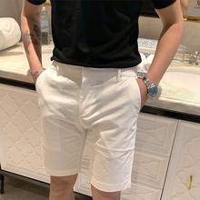 BROhaHER夏季io约时尚休闲短裤 韩国白色百搭经典式五分裤子潮