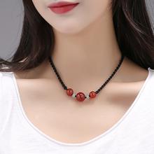 锁骨链ha短式百搭民ma玛瑙脖子装饰品简单颈链中国风