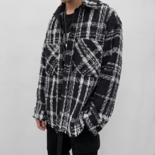 【晓明ha同式】ITmaIMAX中长式黑白格子粗花呢编织衬衫外套情侣