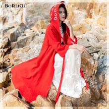 云南丽ha民族风女装da大红色青海连帽斗篷旅游拍照长袍披风