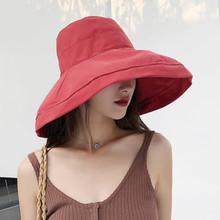 遮阳帽ha夏天渔夫帽py色日系盆帽潮出游布帽太阳帽防晒可折叠