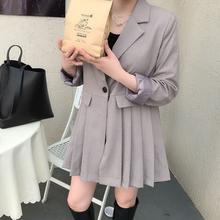 (小)徐服ha时仁韩国老pyCE2020秋季新式西装百褶娃娃连衣裙135