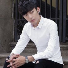四季青ha年帅气白衬bo长袖韩款修身纯色大码短袖衬衣商务职业