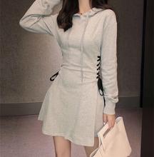 202ha年春季新式et码女装短式连衣裙连帽抽绳卫衣短裙运动风